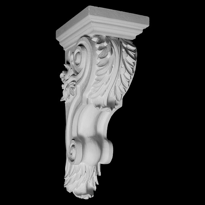 CB-112 Series Acanthus Leaf on Smooth with Leaf On Bottom Resin Corbel