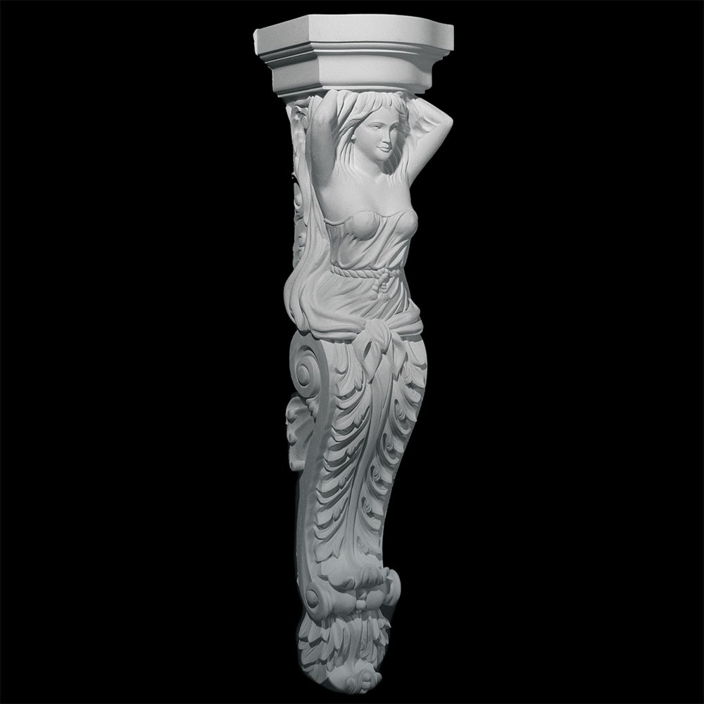 CB-305 Series Fireplace Mantle Female Sculpture with Acanthus Leaf Bottom Resin Corbel