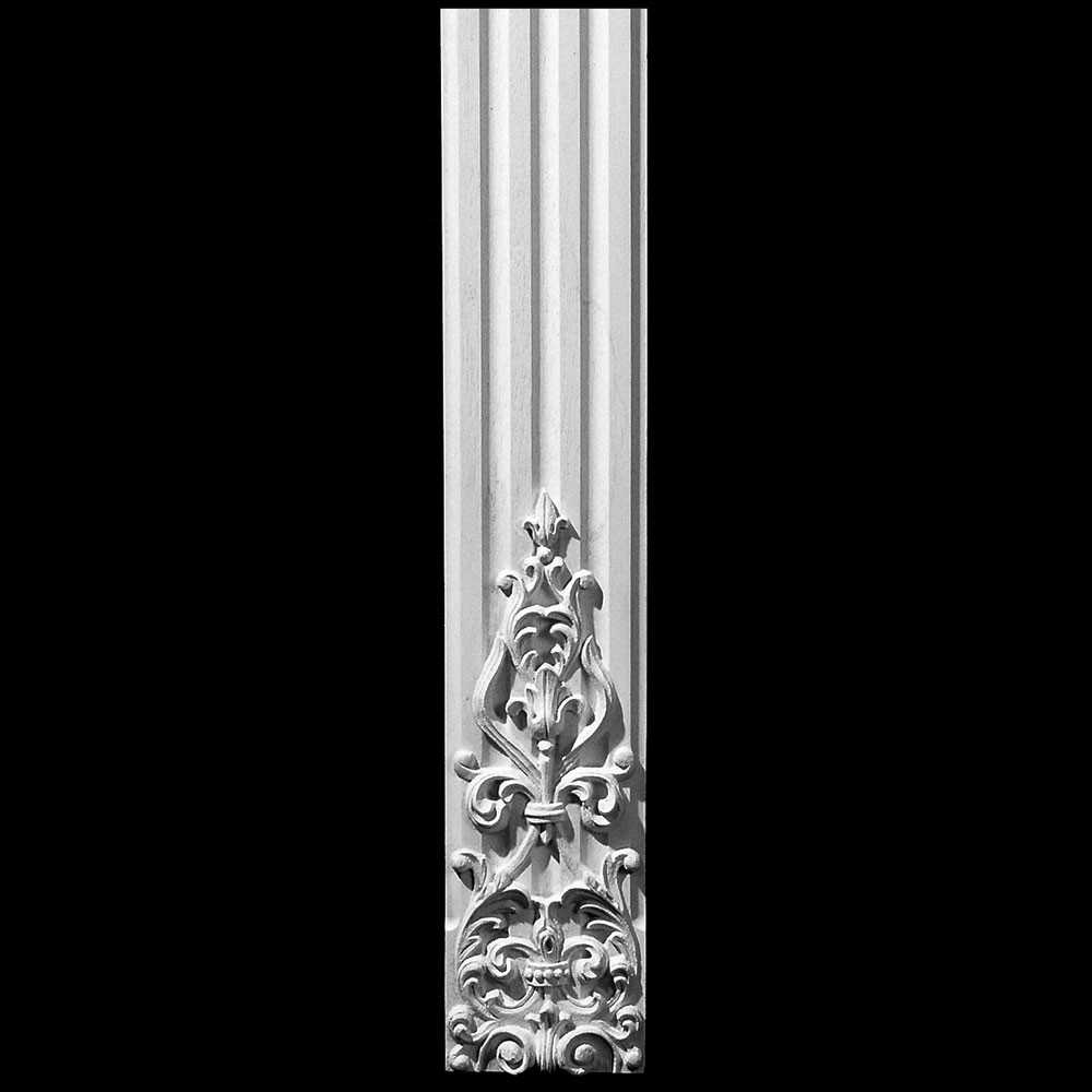 COLM-110 Series Carved Onlay Flat Front Concave Fluted Resin Column