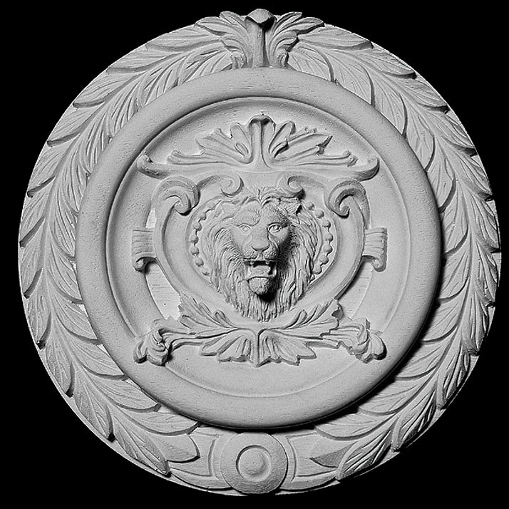 CP-106 Series Lion Face Shield With Acanthus Leaf Ring Resin Centerpiece