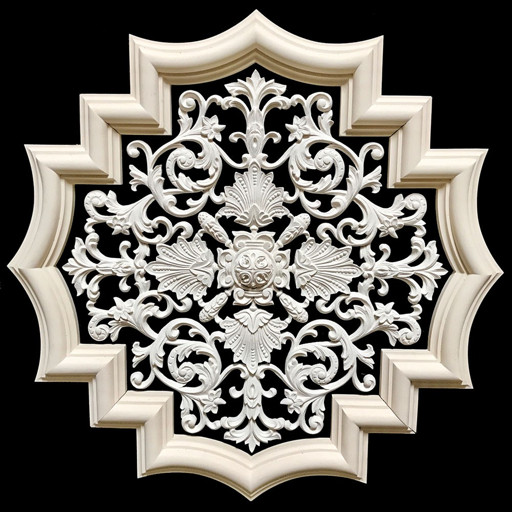 MD-101A-EXT Extended Profile Surrounding Acanthus Leaf Scrolls with Shells and Rosette Resin Medallion