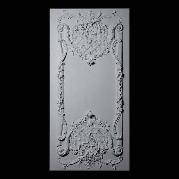 PANL-121 Series Grille with Scroll and Floral Accents on Backing Resin Panel