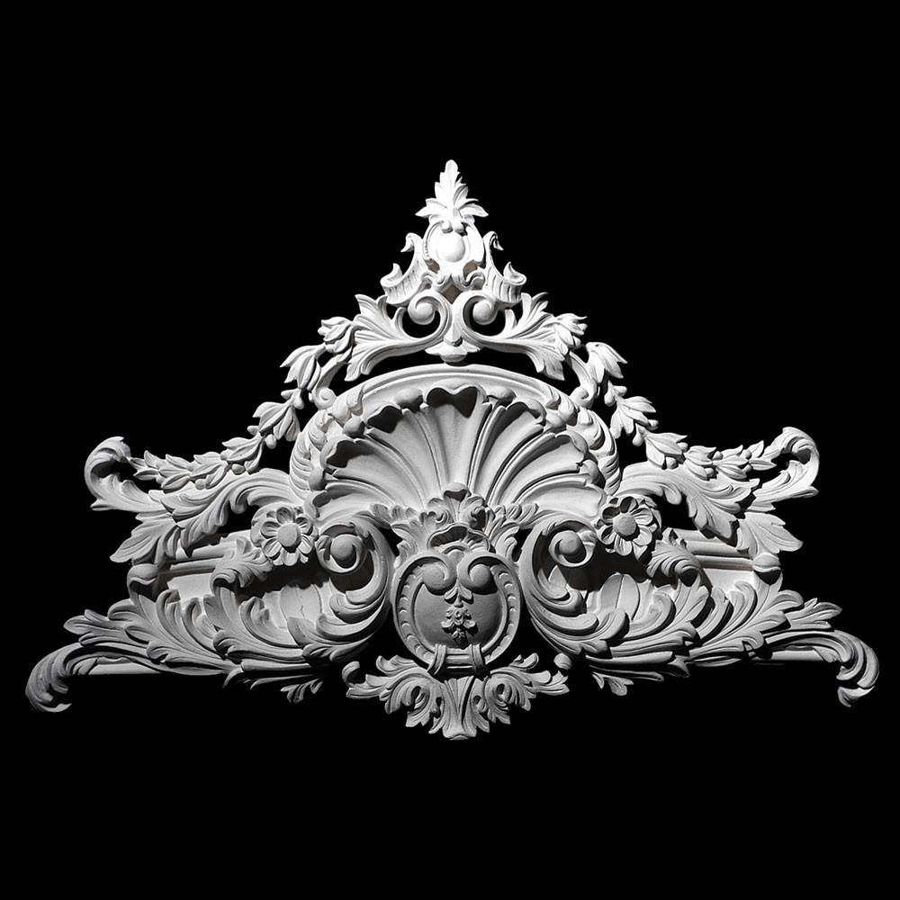 VSC-54 Acanthus Leaf Shell with Flower, Scroll, and Shield Versailles Resin Collection