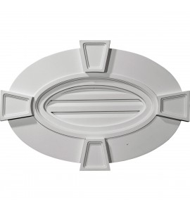 "EM-GVOV29X20F - 29""W x 20""H x 1 3/4""P, Horizontal Oval Gable Vent with Keystones, Functional"
