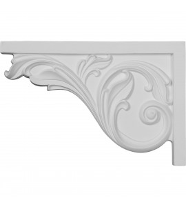 "EM-SB11X07AC-L - 11 3/4""W x 7 3/4""H x 3/4""D Large Acanthus Stair Bracket, Left"