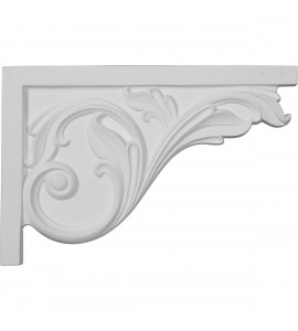 "EM-SB11X07AC-R - 11 3/4""W x 7 3/4""H x 3/4""D Large Acanthus Stair Bracket, Right"