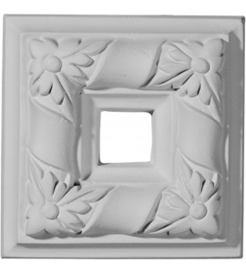 """EM-ROS04X04KD - 4""""W x 4""""H x 1""""P Kendall Square Rosette (Can be used with Kendall Panel Moulding)"""
