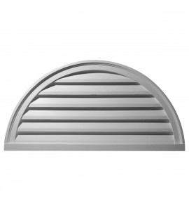 "EM-GVHR48F - 48""W x 24""H x 2 1/4""P, Half Round Gable Vent Louver, Functional"