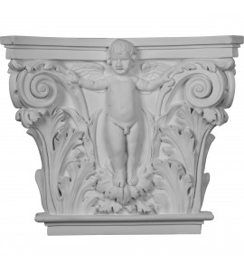"EM-CAP14X16X04AN - 16 3/8""W x 13 5/8""H x 3 7/8""P Angel Onlay Capital (Fits Pilasters up to 10 5/8""W x 1""D)"