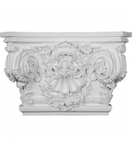 "EM-CAP26X17X02RO - 26 7/8""W x 17 1/2""H x 2 5/8""P Rose Capital (Fits Pilasters up to 19 1/4""W x 2 5/8""D)"