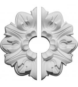 "EM-CM07EM2-01500 - 7 5/8""OD x 1 1/2""ID x 1""P Emery Leaf Ceiling Medallion, Two Piece (Fits Canopies up to 1 1/2"")"