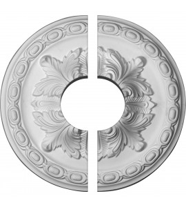 "EM-CM11AC2-03500 - 11 3/8""OD x 3 1/2""ID x 2""P Acanthus Ceiling Medallion, Two Piece (Fits Canopies up to 3 1/2"")"