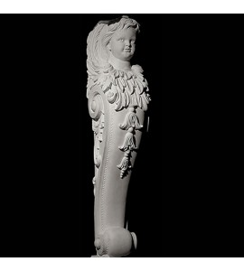 BASE-103 Cherub and Acanthus Leaf Scroll with drop resin Fireplace Mantel Base