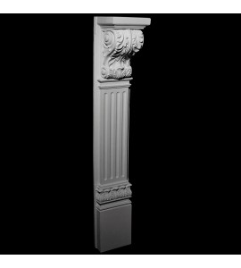 BASE-130 Fireplace Mantel Resin Base with Acanthus Leaf Corbel, Fluted Columns and Acanthus Leaf