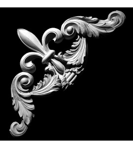 CE-133 Fleur De Lis and Acanthus Leaf Scrolls Resin Corner Element