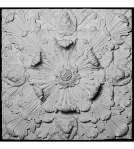 CEIL-122 Resin Ceiling Tile with Lion Faces and Acanthus Leaf
