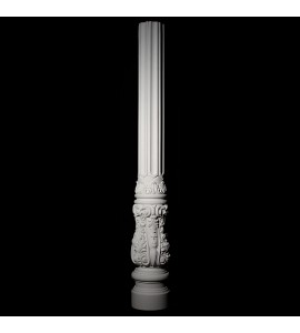 COLM-104C Acanthus Leaf with Scrolls Fluted Resin Column