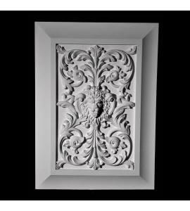 PANL-1-117 Series Lion's Face with Flower and Vine Insert with Cove Detail Frame Resin Panel