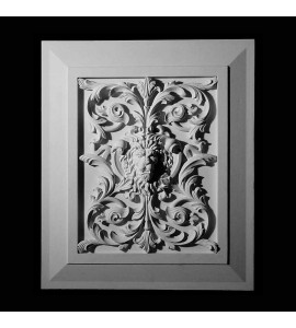 PANL-2-117 Series Lion's Face with Flower and Vine Resin Panel Insert with Traditional Frame