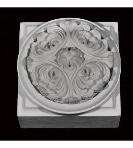 PB-101 Resin Plinth Block with Circular Leaf Rosette Center