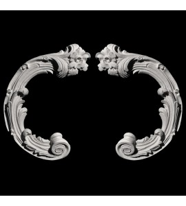 SCR-382 Series Curled Leaf and Flower Resin Scroll Pair