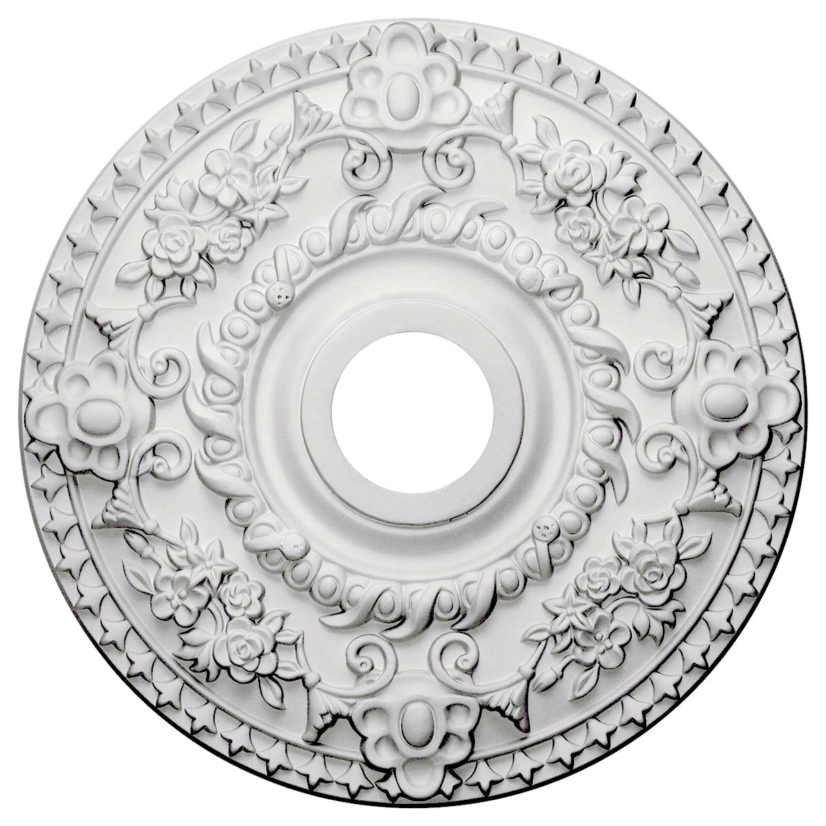 "EM-CM18RO - 18""OD x 3 1/2""ID x 1 1/2""P Rose Ceiling Medallion (Fits Canopies up to 7 1/4"")"
