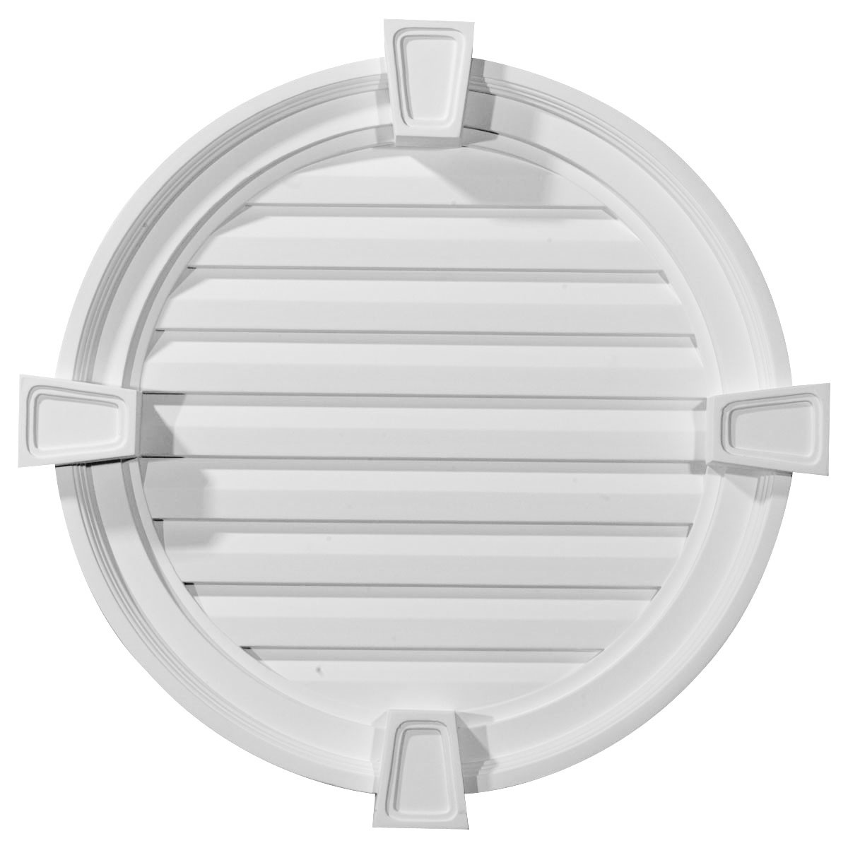 """EM-GVRO22FK - 22""""W x 22""""H x 2 1/8""""P,  Round Gable Vent with Keystones, Functional"""