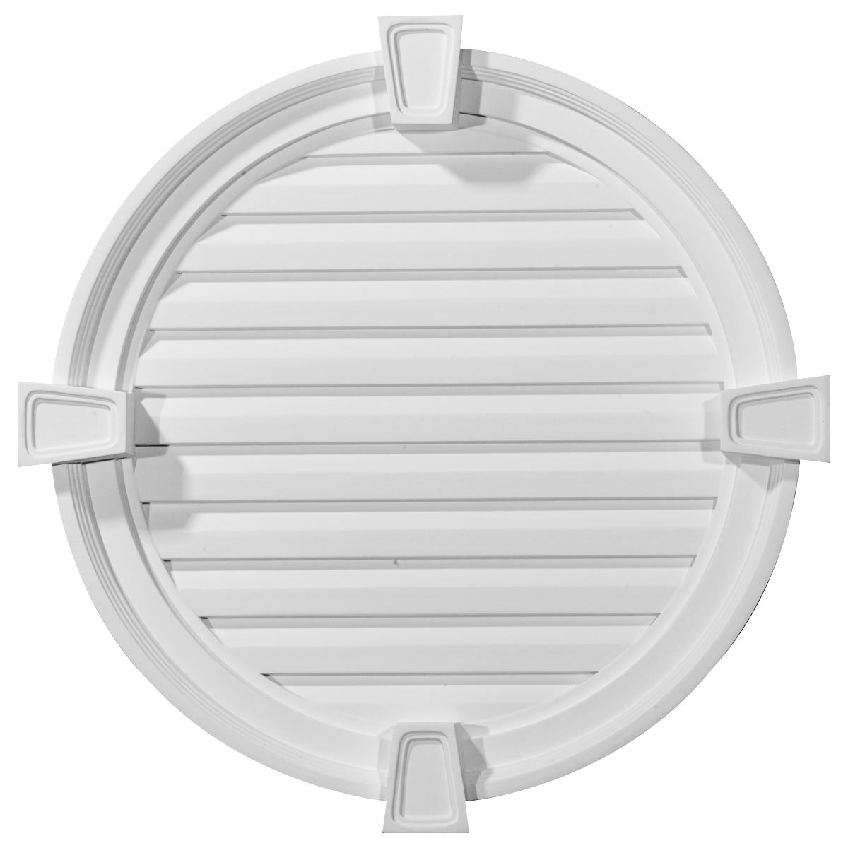"""EM-GVRO24FK - 24""""W x 24""""H x 2 1/8""""P, Round Gable Vent with Keystones, Functional"""