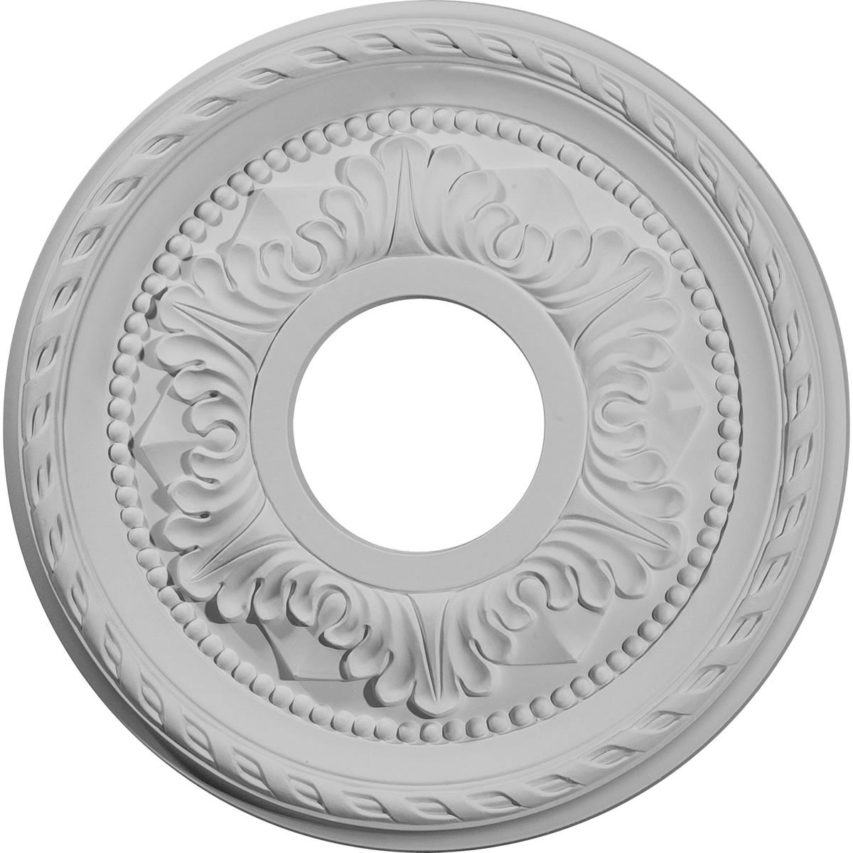 "EM-CM12PM - 12 1/8""OD x 3 1/2""ID x 1""P Palmetto Ceiling Medallion (Fits Canopies up to 4 7/8"")"