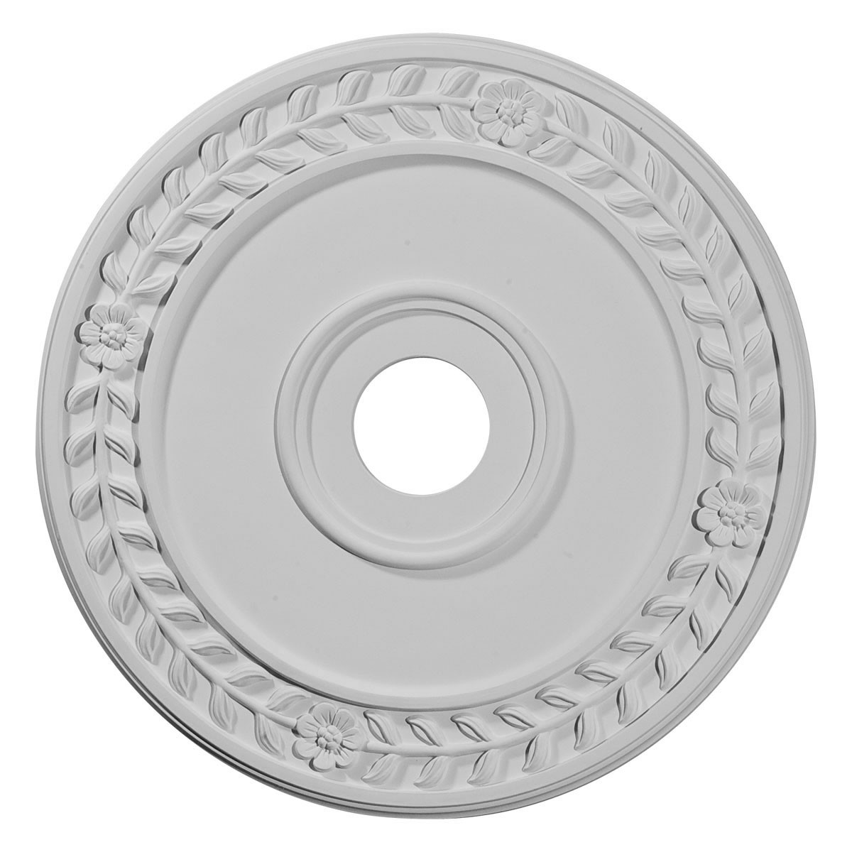 """EM-CM21WR - 21 1/8""""OD x 3 5/8""""ID x 7/8""""P Wreath Ceiling Medallion (Fits Canopies up to 6"""")"""