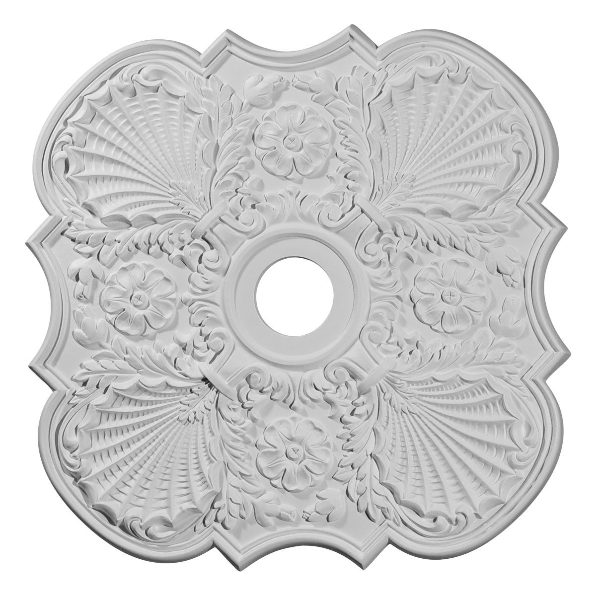 """EM-CM29FW - 29""""OD x 3 5/8""""ID x 1 3/8""""P Flower Ceiling Medallion (Fits Canopies up to 6 1/4"""")"""