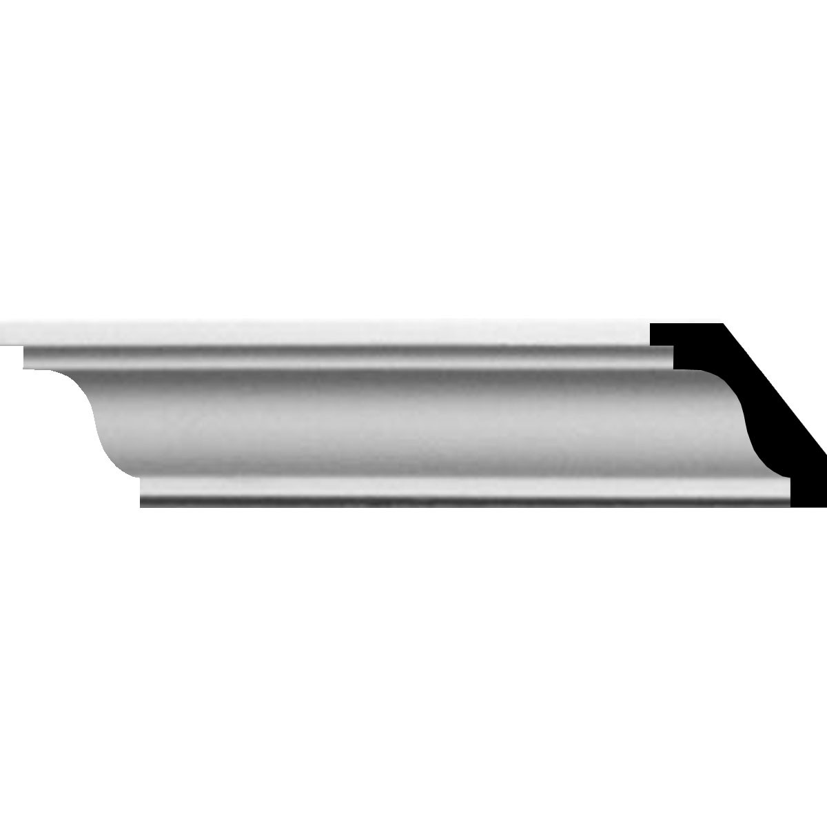 """EM-MLD01X01X01HI - 1 1/4""""H x 1 1/4""""P x 1 3/4""""F x 94 1/2""""L Hillsborough Traditional Smooth Crown Moulding"""