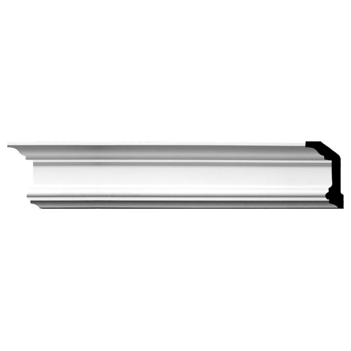 """EM-MLD04X02X04HO - 4""""H x 2 1/4""""P x 4 1/2""""F x 94 1/2""""L Holmdel Traditional Smooth Crown Moulding"""