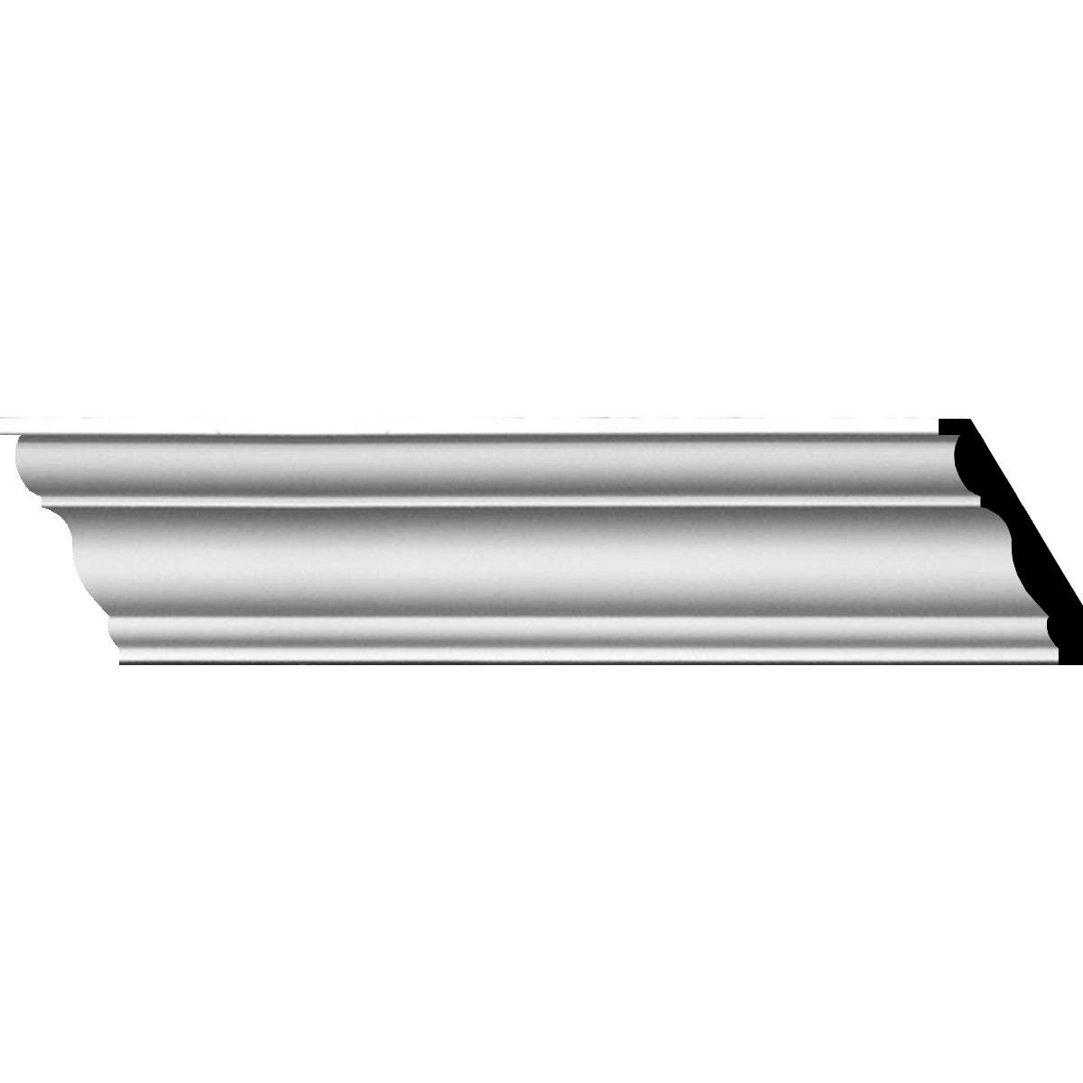 """EM-MLD03X03X04QU - 3 1/2""""H x 3 1/8""""P x 4 3/4""""F x 94 1/2""""L Queenstown Traditional Smooth Crown Moulding"""
