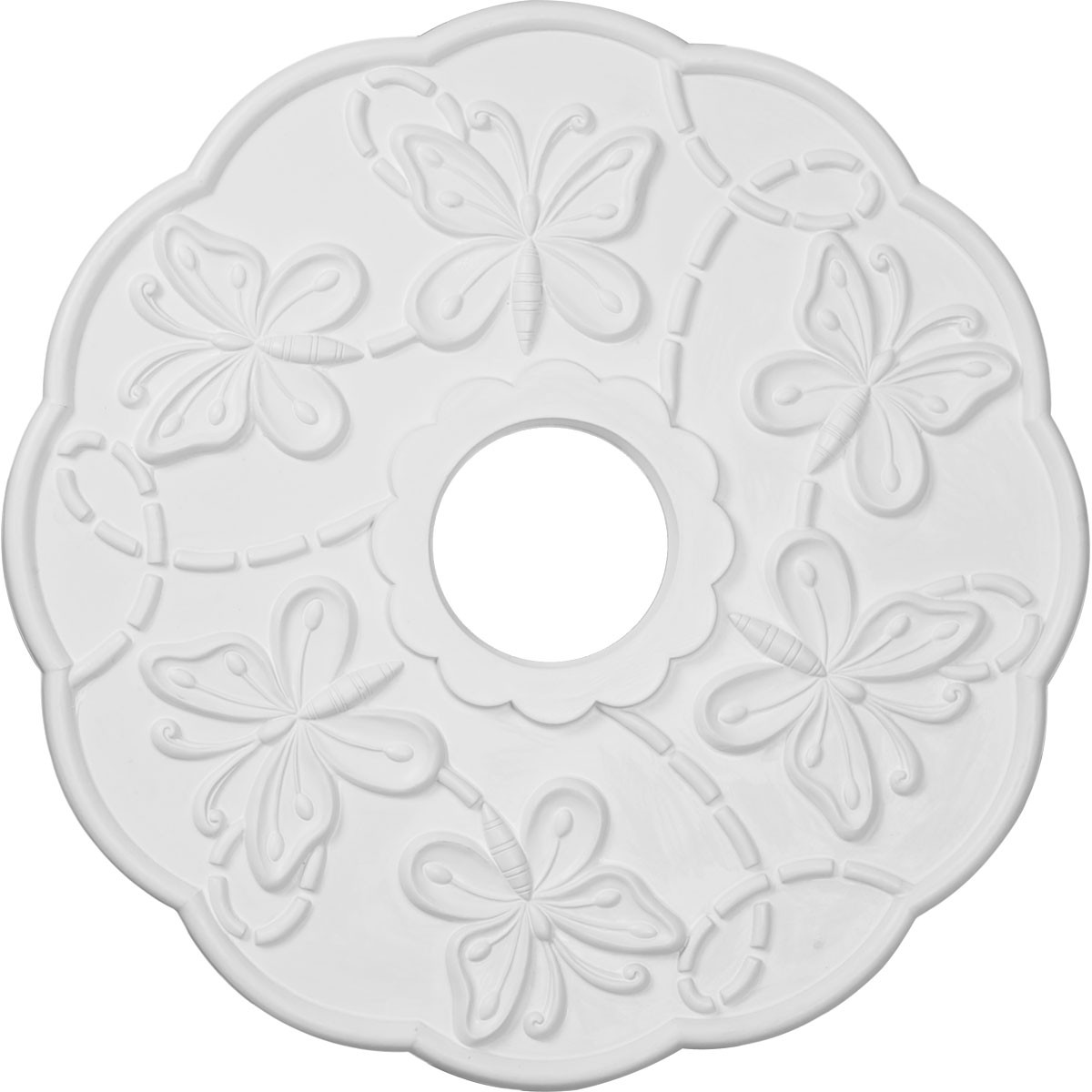 """EM-CM17TS - 17 7/8""""OD x 3 7/8""""ID x 1""""P Terrones Butterfly Ceiling Medallion (Fits Canopies up to 3 7/8"""")"""
