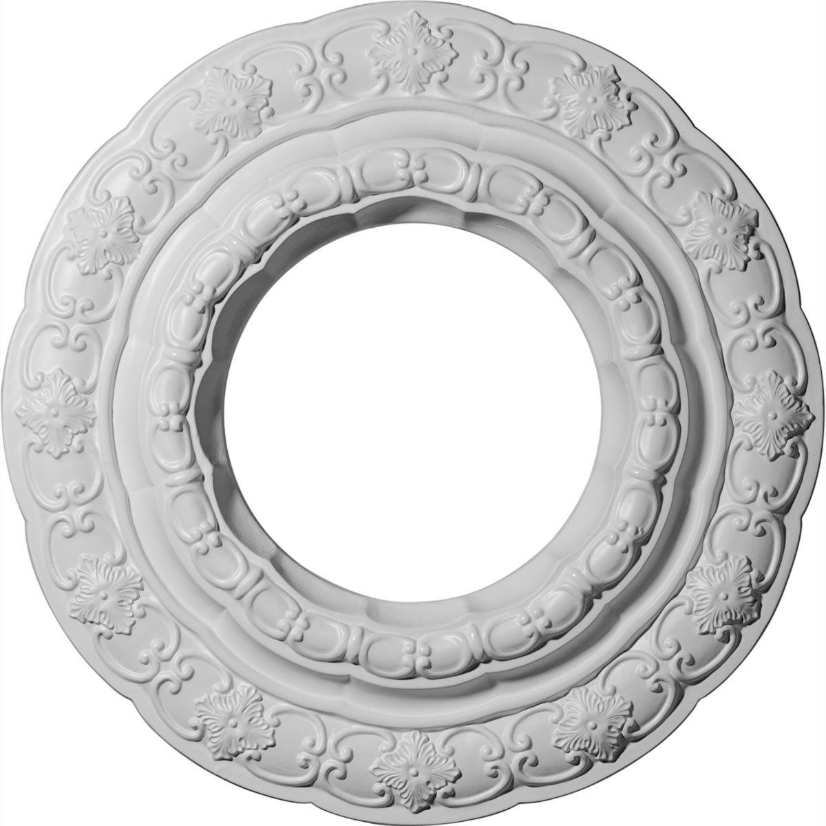 "EM-CM15LI - 15 3/8""OD x 7""ID x 1""P Lisbon Ceiling Medallion (Fits Canopies up to 7"")"