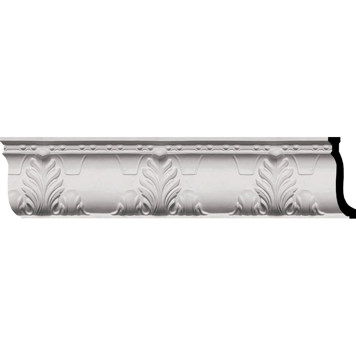 """EM-MLD09X03X10AL - 9 1/4""""H x 3 3/4""""P x 9 7/8""""F x 96""""L Alexandria Acanthus Leaf and Ribbons Crown Moulding"""