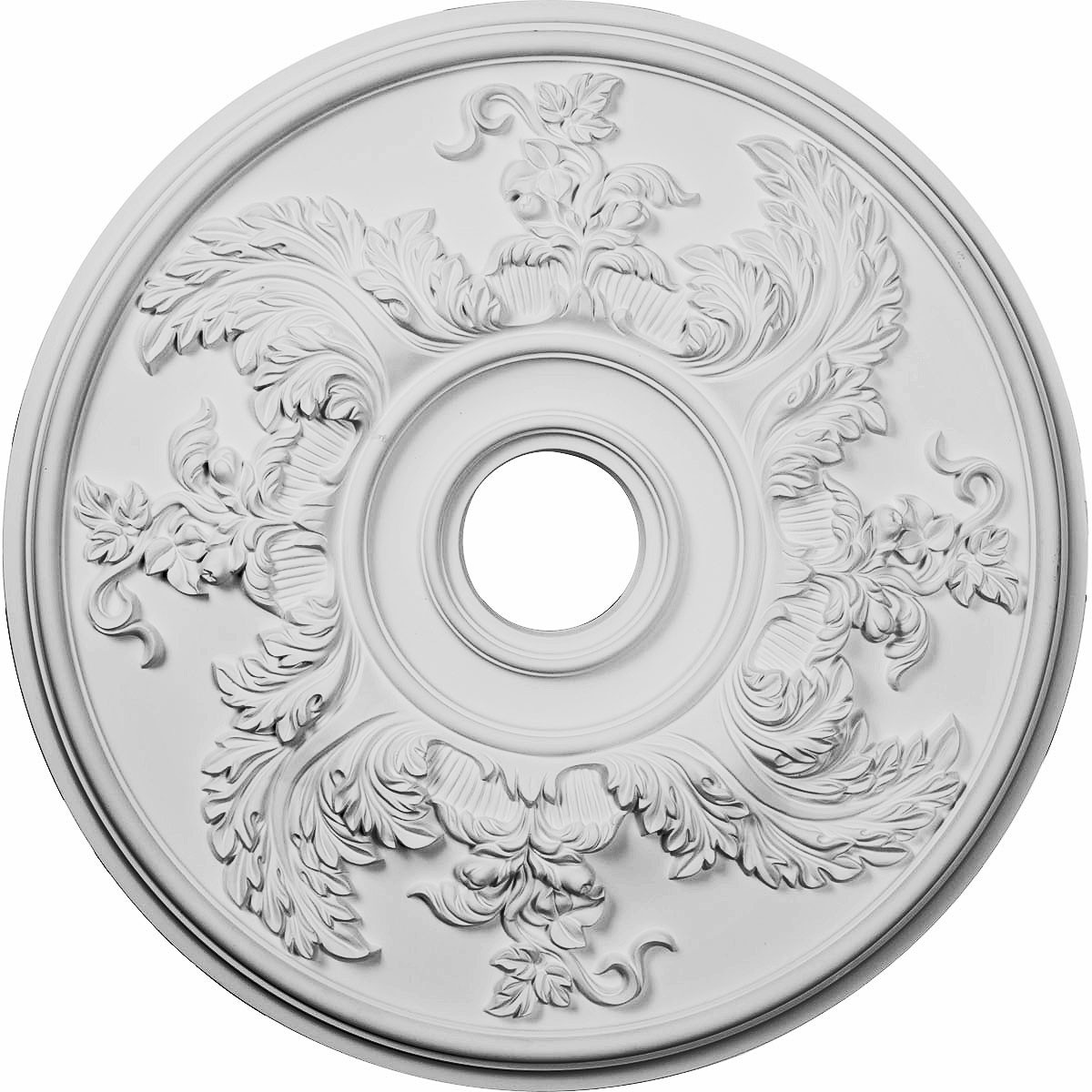 """EM-CM23AC - 23 5/8""""OD x 4 5/8""""ID x 1 7/8""""P Acanthus Twist Ceiling Medallion (Fits Canopies up to 8 3/8"""")"""