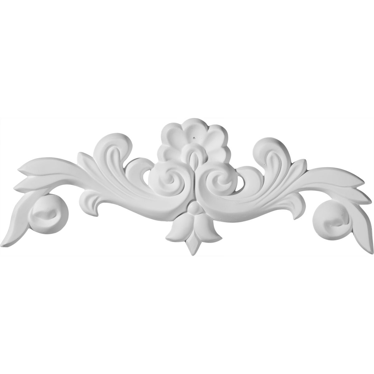 """EM-ONL10X04X01BN - 10 5/8""""W x 3 7/8""""H x 5/8""""P Benson Flowing Leaves Center with Scrolls Onlay"""