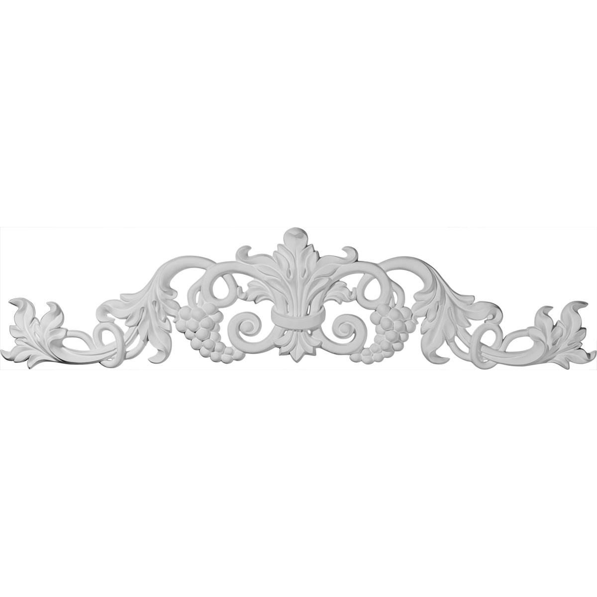 """EM-ONL39X08X02GR - 39""""W  x 8 7/8""""H x 1 3/8""""P Large Grape and Leaf Center with Scrolls Onlay"""