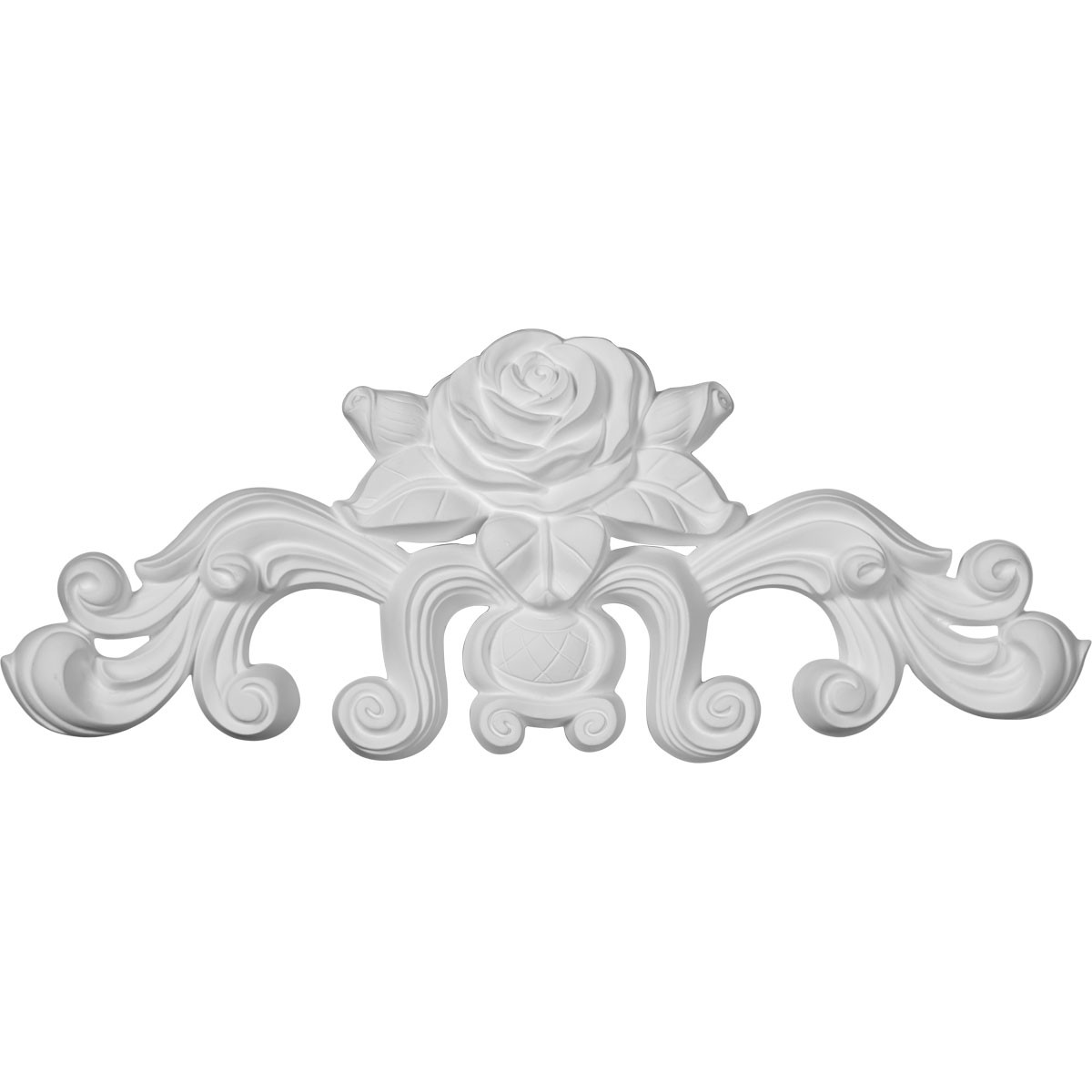 """EM-ONL13X05X01NA - 13 3/4""""W  x 5 1/2""""H x 1""""P Nadia Decorative Rose Center with Scrolls Onlay"""