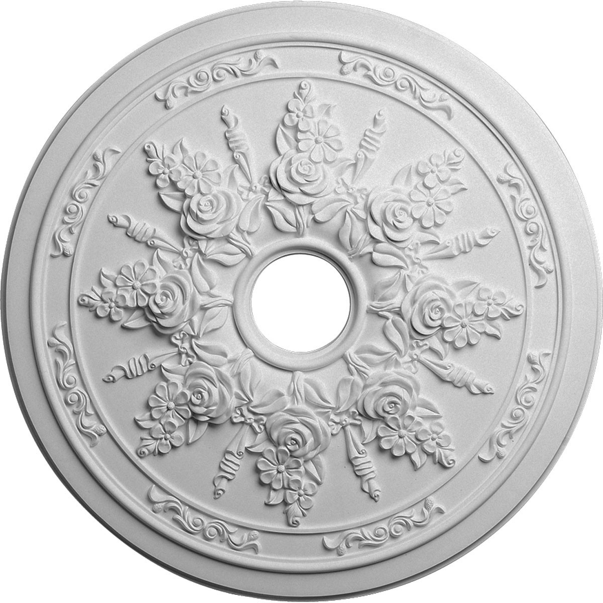 """EM-CM23RO - 23 5/8""""OD x 4""""ID x 1 1/2""""P Rose and Ribbon Ceiling Medallion (Fits Canopies up to 4"""")"""