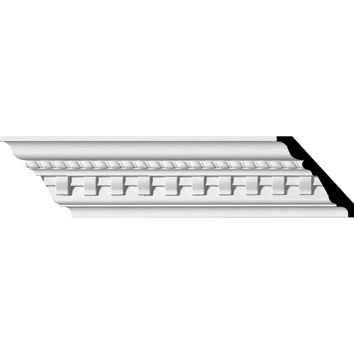 """EM-MLD04X04X05BU - 3 1/2""""H x 3 7/8""""P x 5 1/8""""F x 95 5/8""""L, (1 3/8"""" Repeat), Bulwark Dentil and Rope Crown Moulding"""