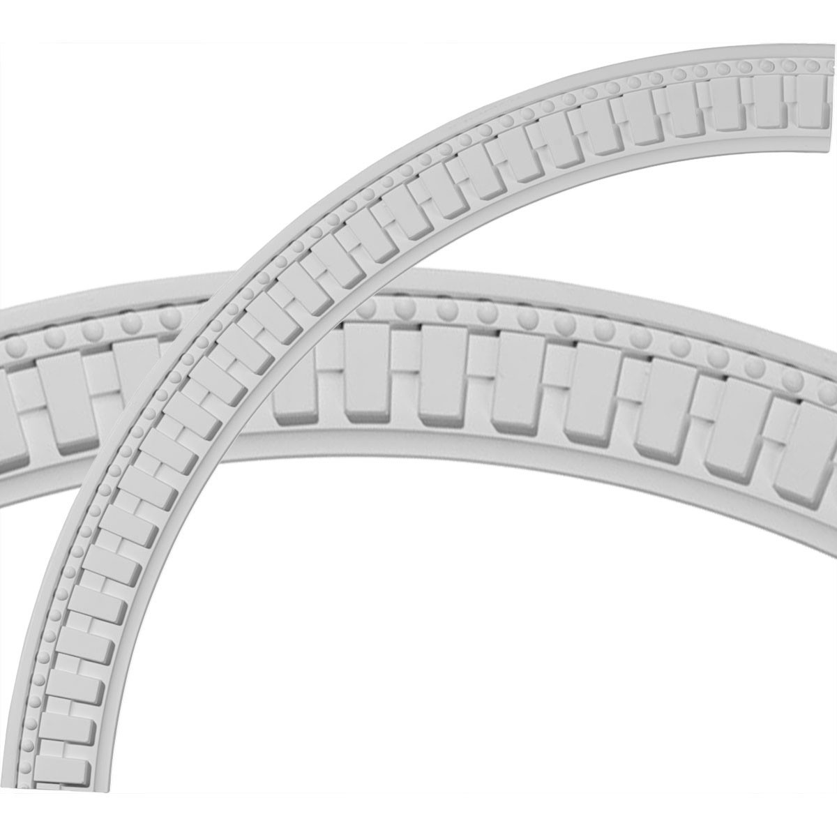 """EM-CR47DT - 47""""OD x 40 1/2""""ID x 3 1/4""""W x 1 1/8""""P Dentil and Bead Ceiling Ring (1/4 of complete circle)"""