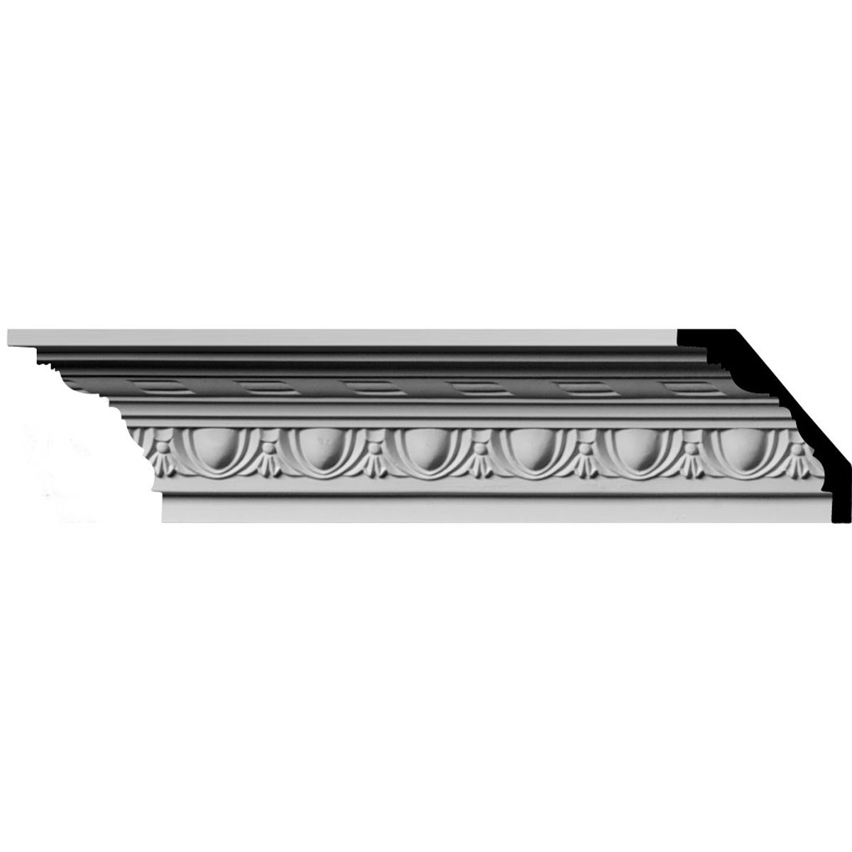 """EM-MLD03X03X04JA - 3""""H x 3""""P x 4 1/4""""F x 96""""L, (1 7/8"""" Repeat) Jackson Egg & Dart with Rope Crown Moulding"""