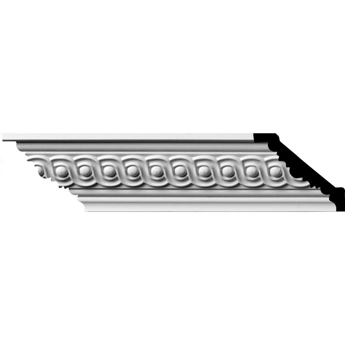 """EM-MLD03X02X04FO - 2 1/4""""H x 2 1/2""""P x 3 5/8""""F x 96""""L, (1 5/8"""" Repeat) Foster Running Coin Crown Moulding"""