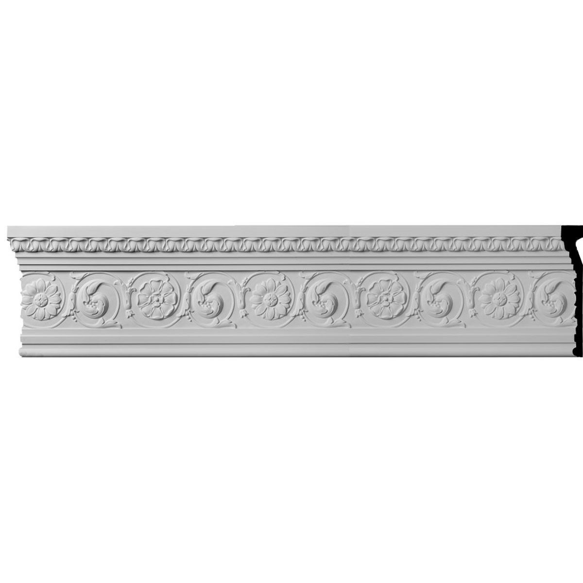 """EM-MLD11X02BE - 11 1/4""""H x 1 7/8""""P x 96""""L, (19 1/4"""" Repeat) Bedford with Flowers Moulding"""