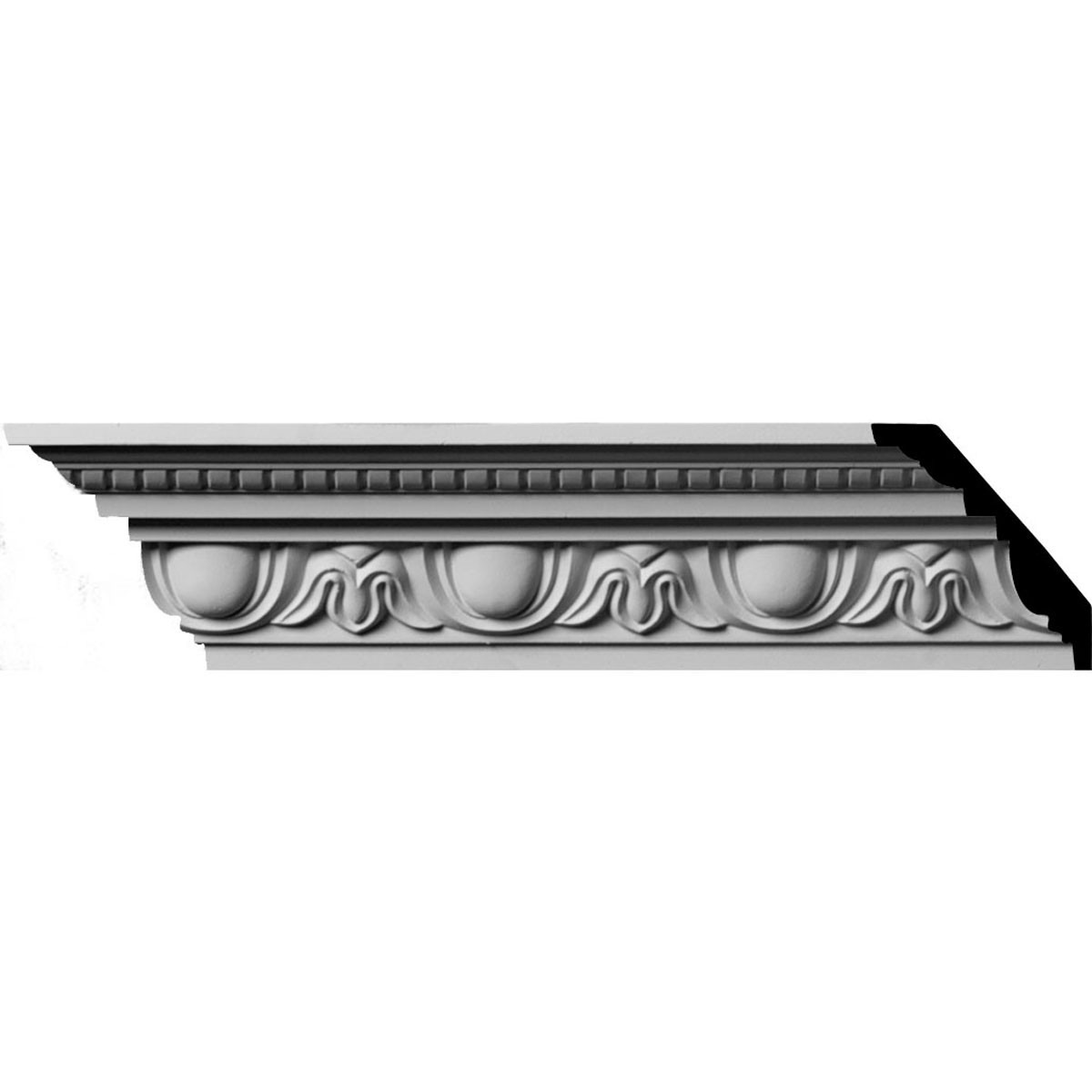 """EM-MLD03X02X04TR - 3 1/4""""H x 2 3/4""""P x 4 3/8""""F x 96""""L, (3 7/8"""" Repeat) Traditional Egg & Dart with Beads Crown Moulding"""
