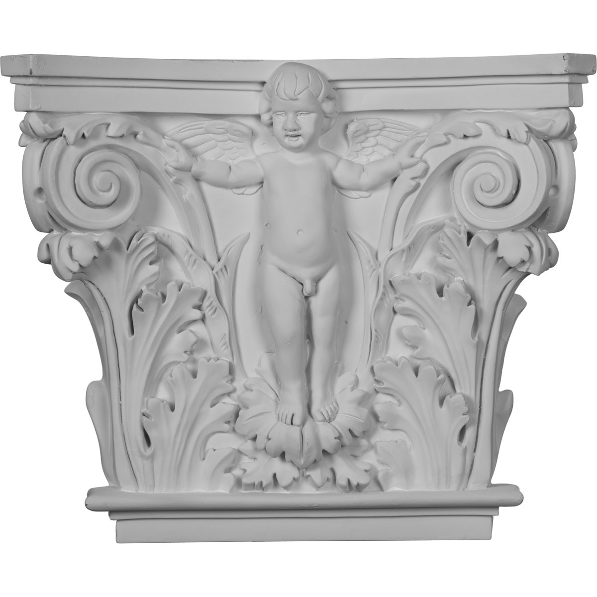 """EM-CAP14X16X04AN - 16 3/8""""W x 13 5/8""""H x 3 7/8""""P Angel Onlay Capital (Fits Pilasters up to 10 5/8""""W x 1""""D)"""