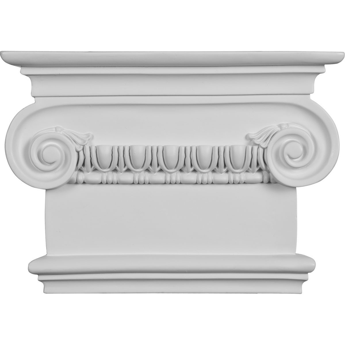 """EM-CAP09X07X03RI - 7 1/2""""W x 8 1/2""""H x 2 1/2""""P Classic Ionic Large Onlay Capital (Fits Pilasters up to 5 1/4""""W x 1 1/8""""D)"""